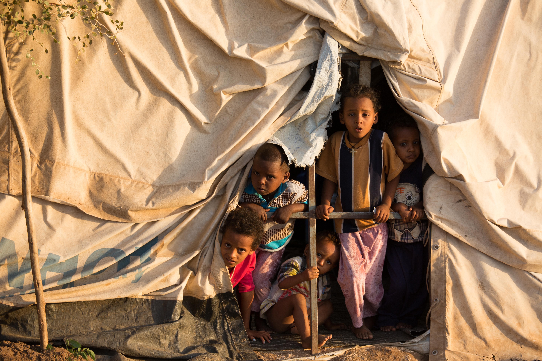 Vista desde los refugios eritreos del campo Hitsatse en Etiopía