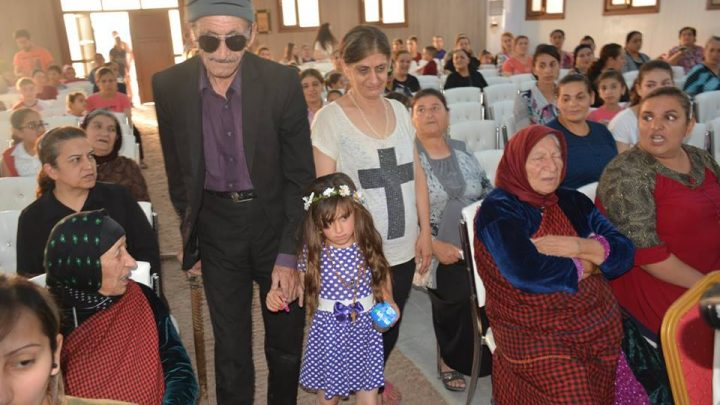 Liberation of Christina kidnapped from ISIS 3 years before, Iraq Christina with her family at holy mass Only very small file quality available