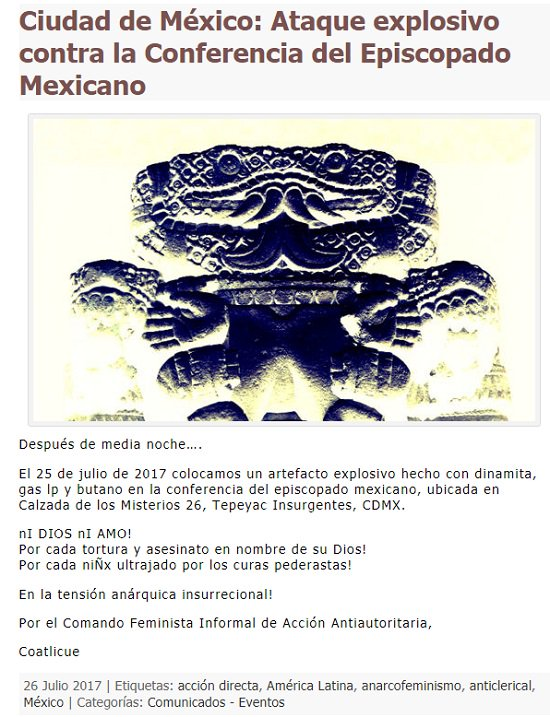 Comando feminista responsable del ataque en contra de la Conferencia del Episcopado Mexicano