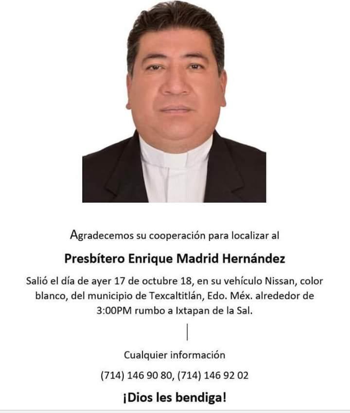 Reportan como desaparecido a sacerdote del Estado de México