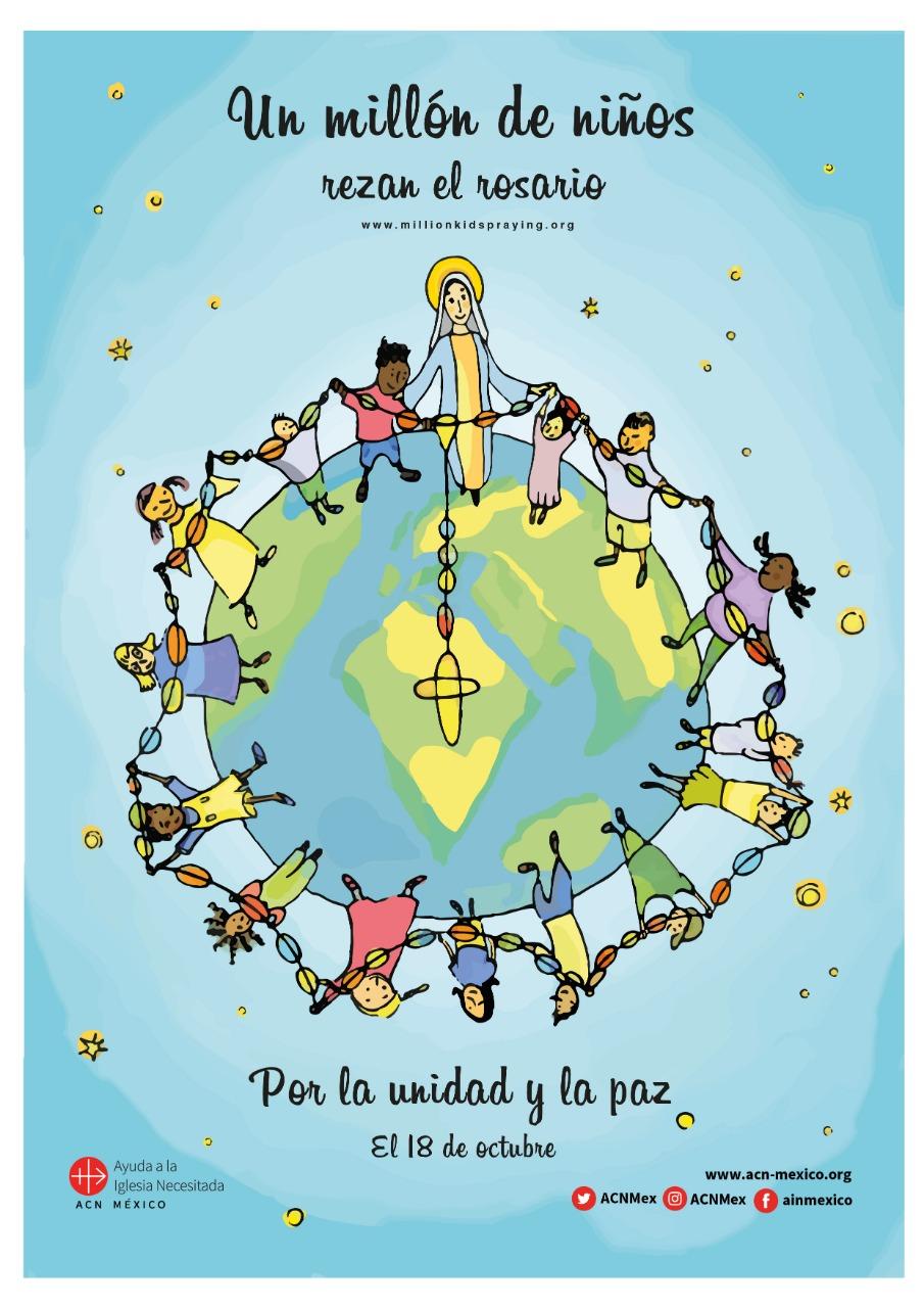 Niños rezan el todo el mundo por la paz y la unidad en el mundo