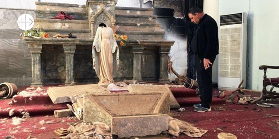 La Virgen de Karamles, destruida por la furia del Isis estará presente en Misa del Papa en Irak